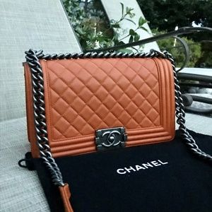 4697b9f3e9a4 CHANEL Bags | New Orange Calfskin Leather Medium Boy Bag | Poshmark